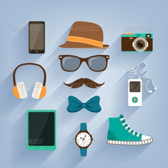 Hipster Accessories Items Set - Web Elements Vectors