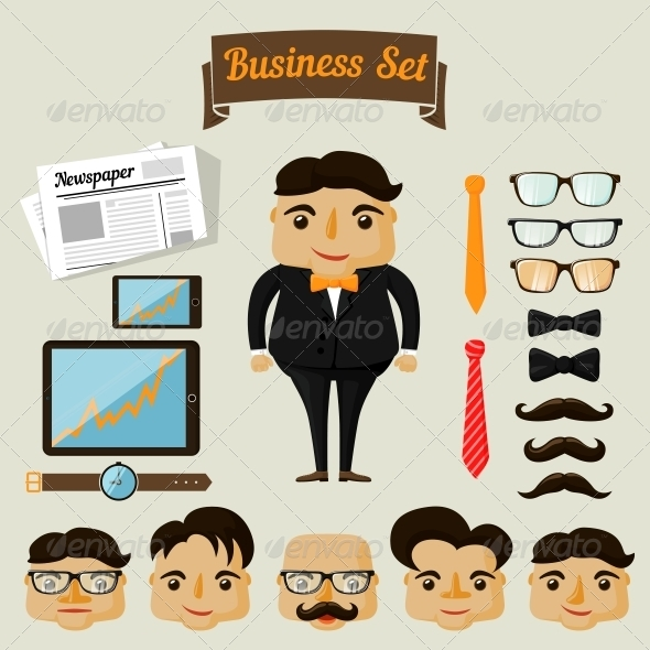 Hipster Character Elements for Business Man - Concepts Business