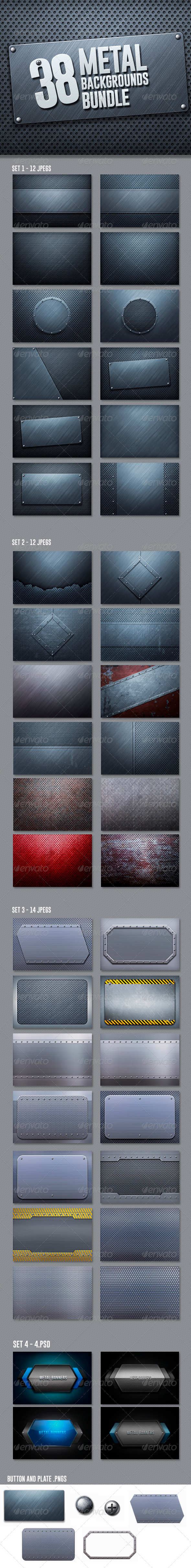 42 Metal Backgrounds Bundle - Urban Backgrounds