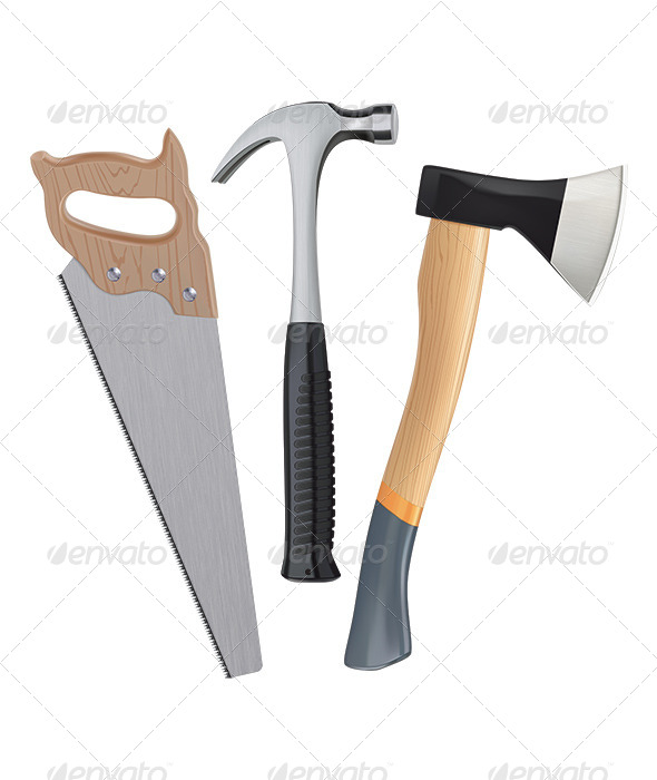 Realistic Hammer, Saw and Axe - Man-made Objects Objects