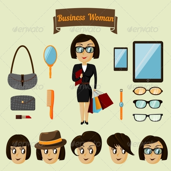 Hipster Character Pack for Business Woman - Concepts Business