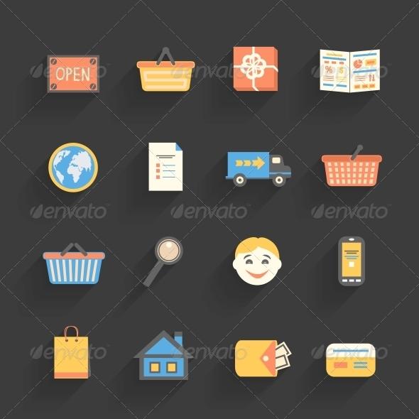 Cartoon Icons Set for Online Store - Web Elements Vectors