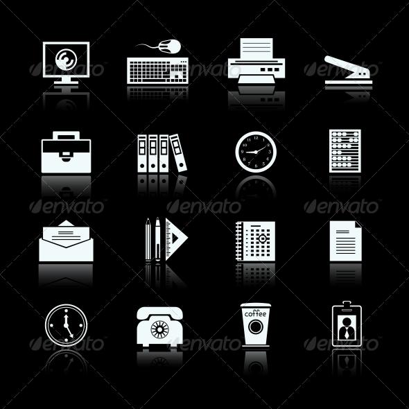 Business Office Supplies Pictograms Set - Web Elements Vectors