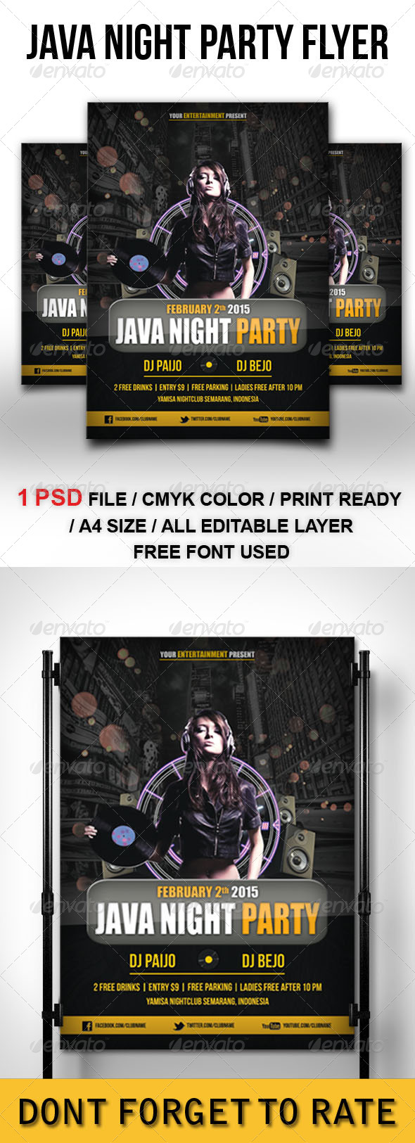 Java Night Party Flyer Template - Clubs & Parties Events