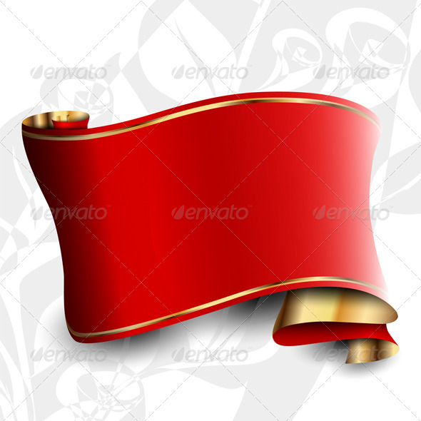 The Red Tape on the Gray Floral Background - Decorative Vectors