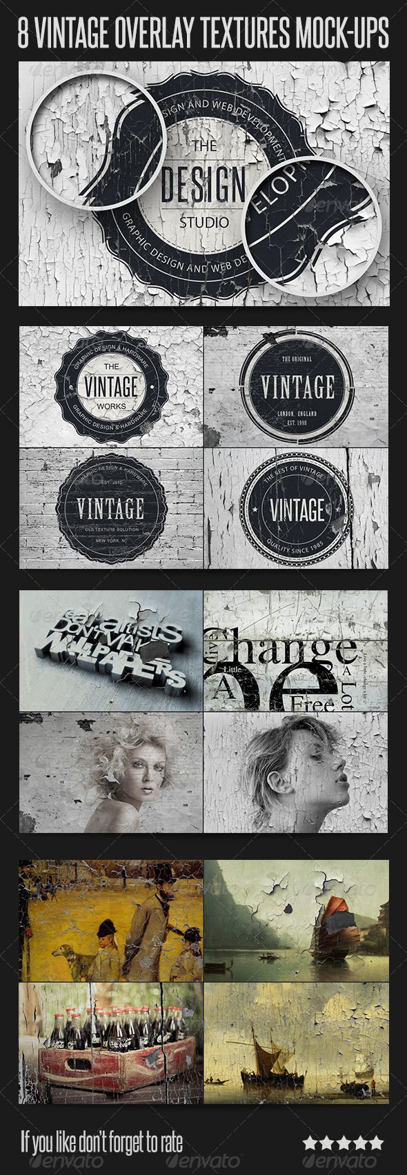 8 Vintage Overlay Textures Mock-Up - Logo Product Mock-Ups