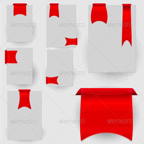 Collection of the Red Bookmarks Ribbon on the Gray - Decorative Vectors
