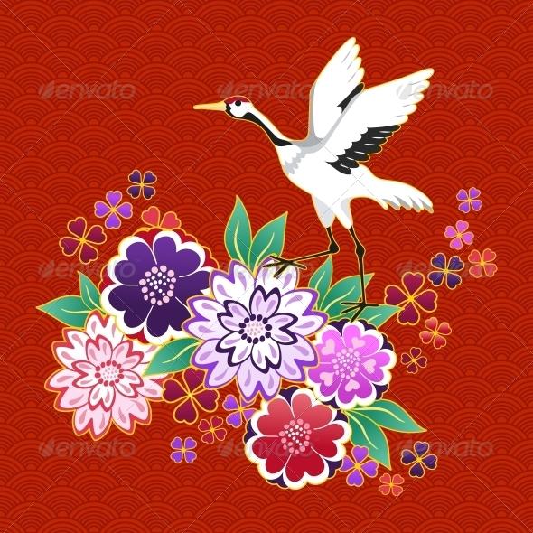 Kimono Decorative Motif with Flowers and Crane - Decorative Symbols Decorative