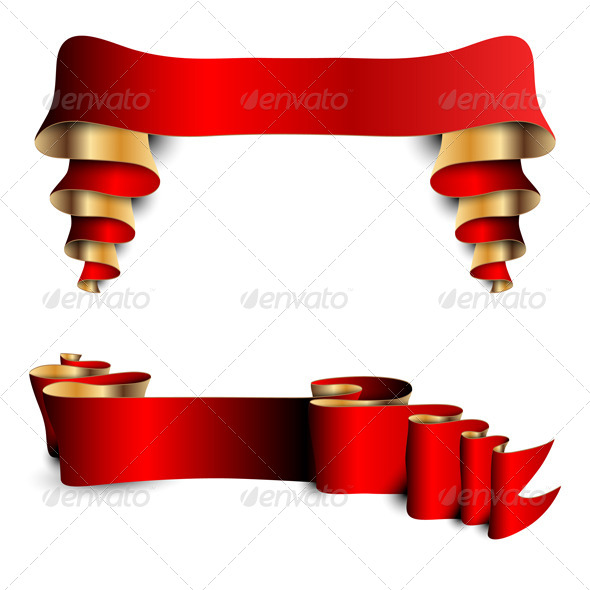 Two Red Ribbons  - Decorative Vectors