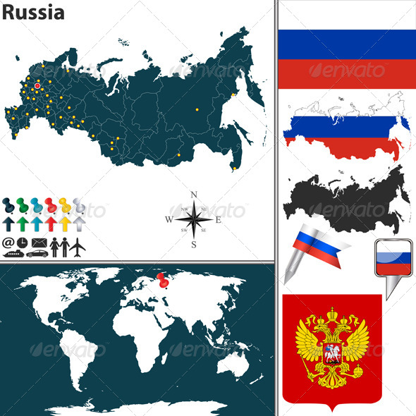 Map of Russia - Travel Conceptual