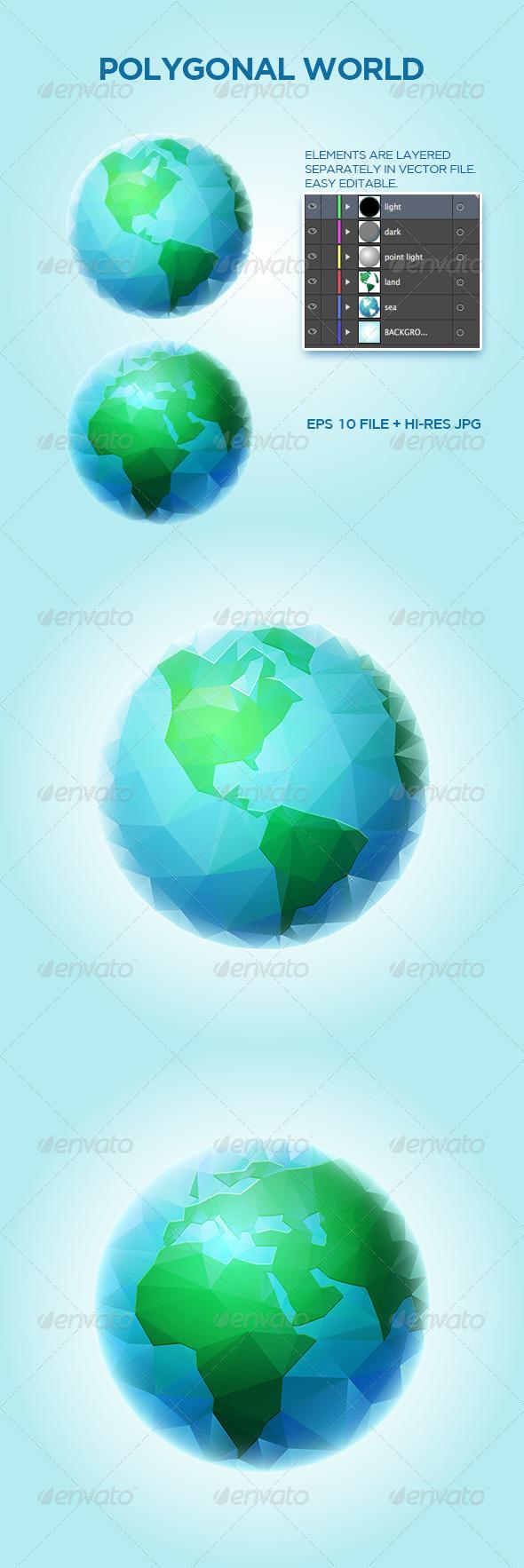 Polygonal World Sphere - Objects Vectors