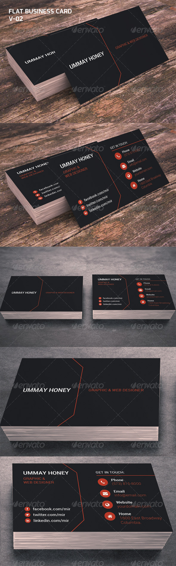 Flat Business Card V-02 - Corporate Business Cards