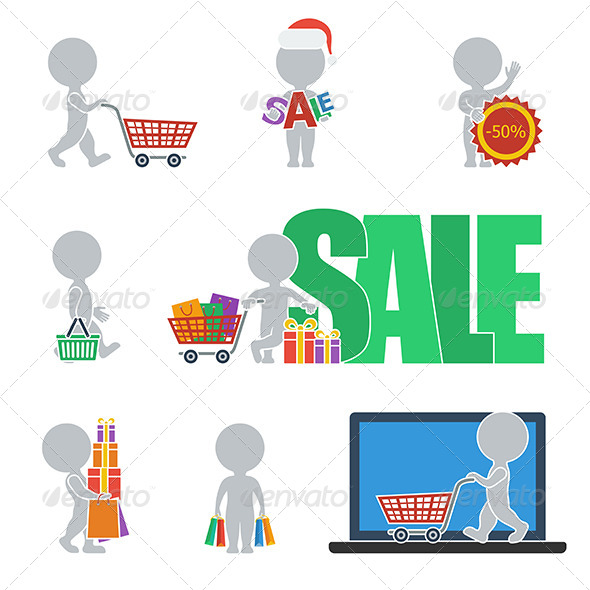 Flat People Sale Icons - People Characters