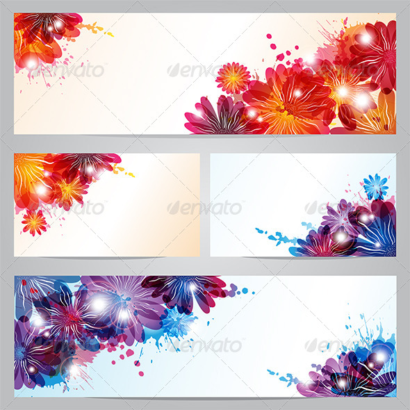 Set of Banners and Business Cards with Flowers - Backgrounds Decorative