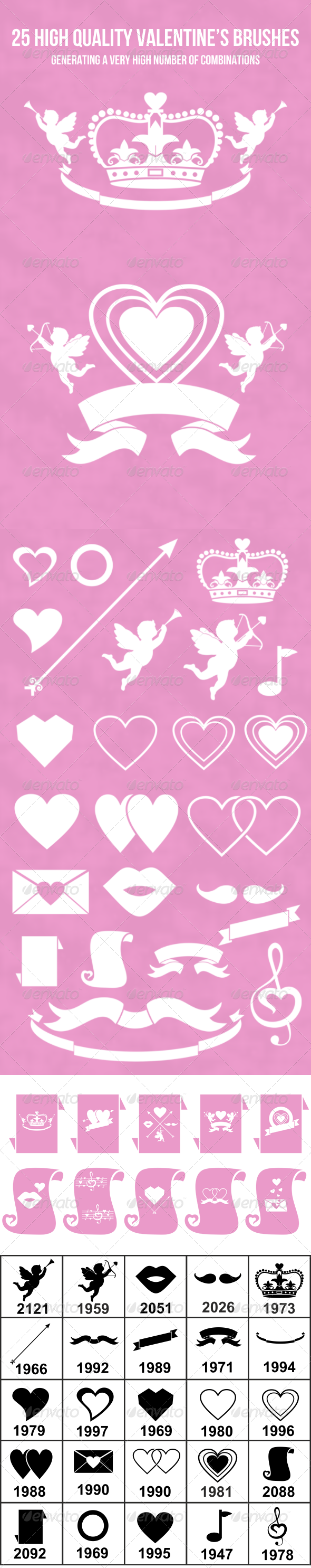 25 High Quality Valentine's Brush Set - Abstract Brushes