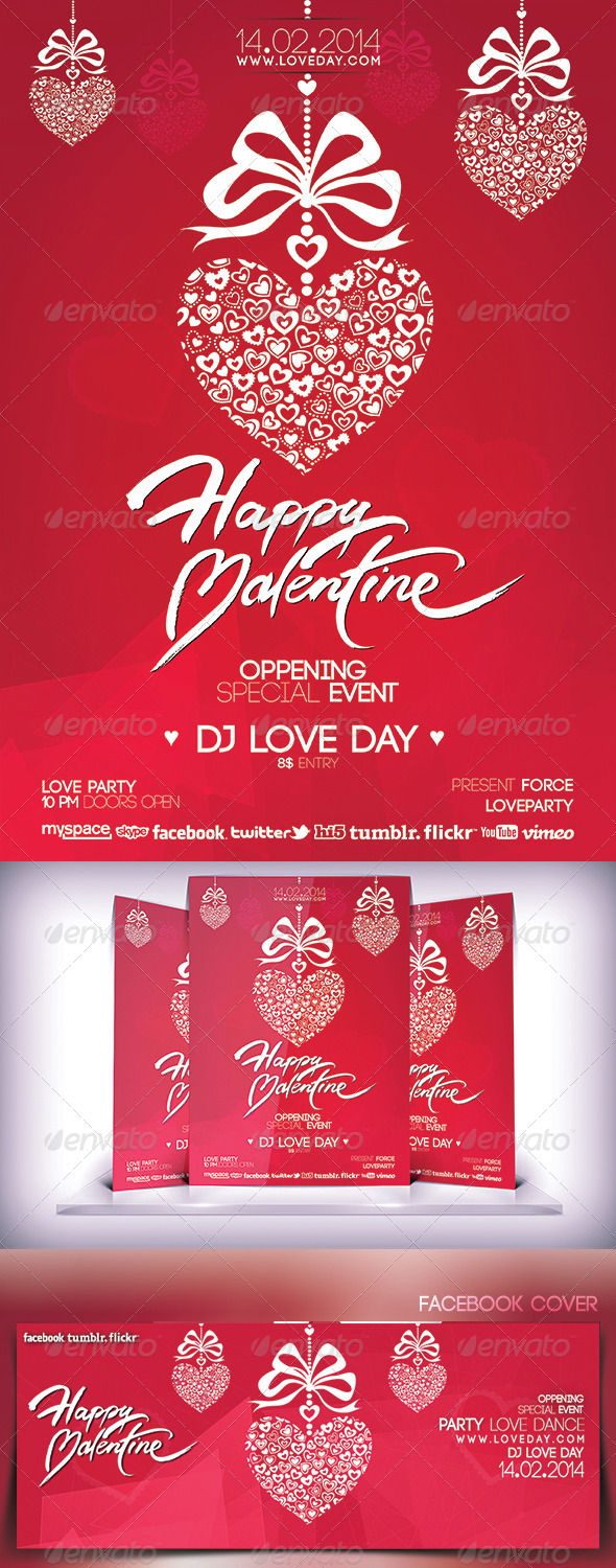 Valentines Day Music Party Flyer - Events Flyers