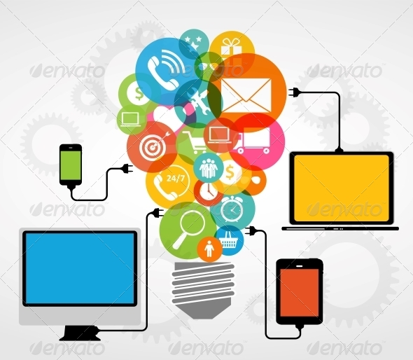 Cloud Computing Concept on Electronic Devices - Computers Technology
