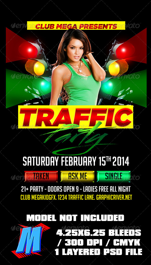 Traffic Party Flyer Template - Clubs & Parties Events