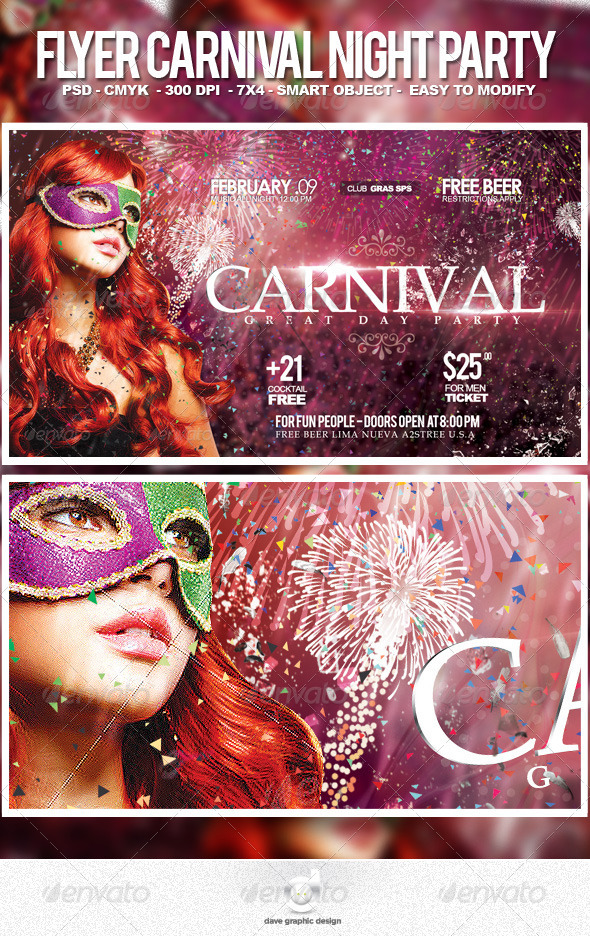 Flyer Carnival Night Party - Events Flyers