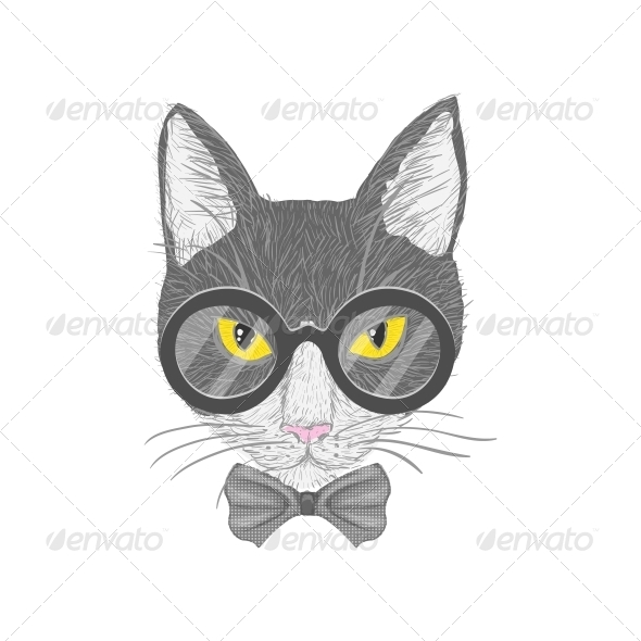 Hipster Cat with Yellow Eyes - Animals Characters