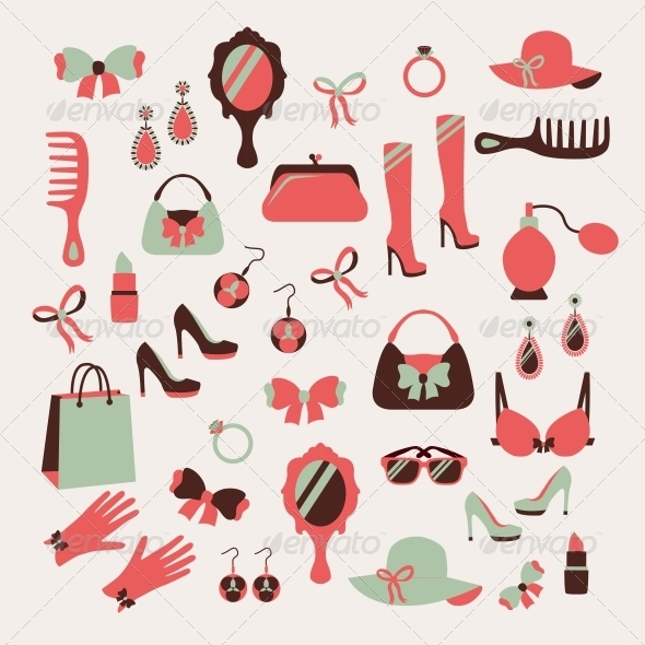 Woman Accessories Icons Set - Web Elements Vectors
