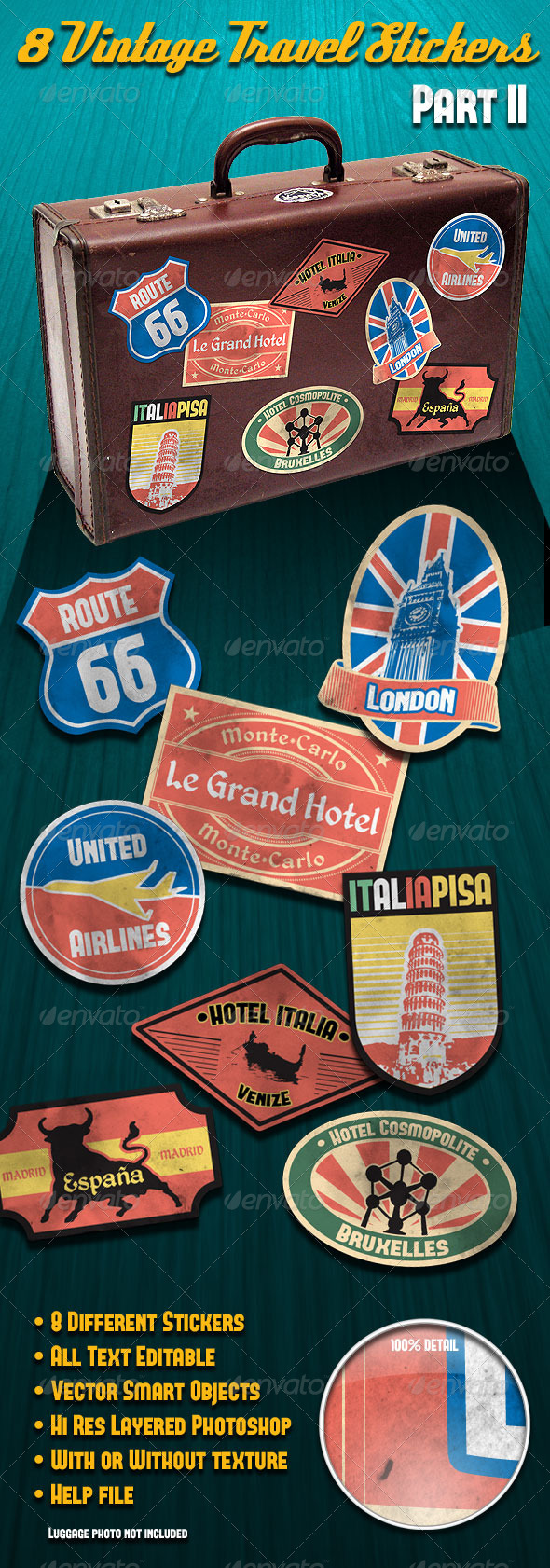 Vintage Travel Stickers Part 2 - Badges & Stickers Web Elements
