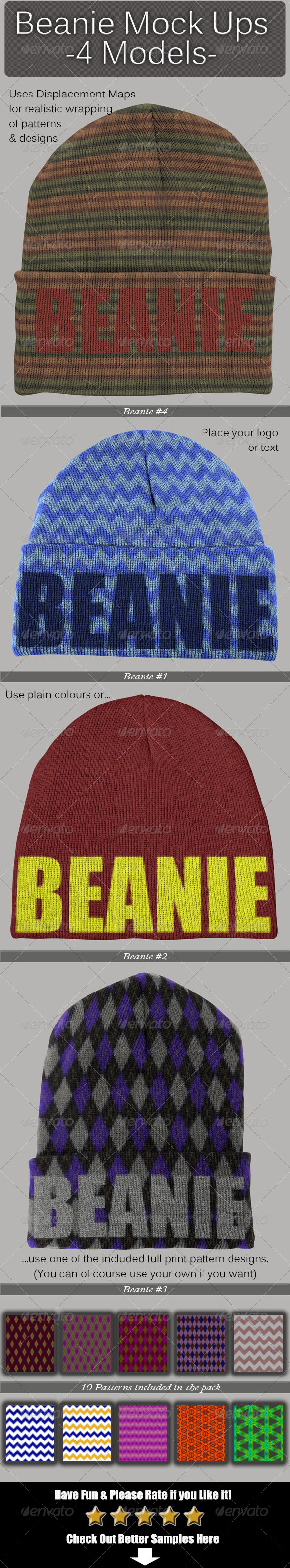 Beanie Mock Ups - Miscellaneous Apparel