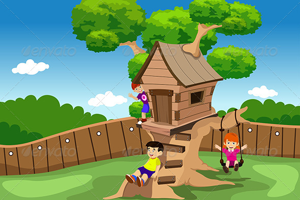Kids Playing in a Tree House - Sports/Activity Conceptual