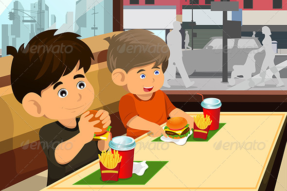 Kids Eating Hamburger and Fries - People Characters