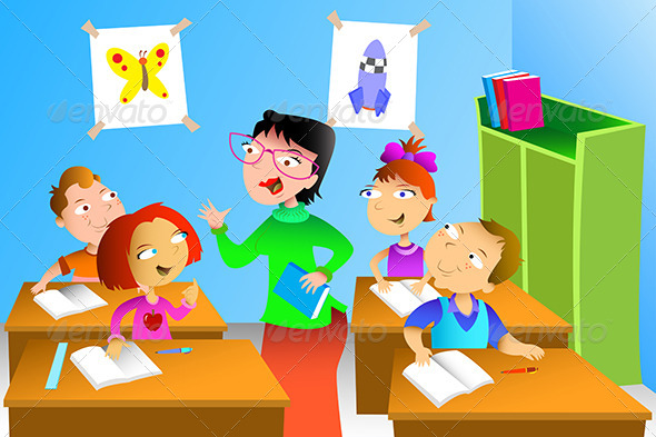 Teacher and Student in the Classroom - People Characters