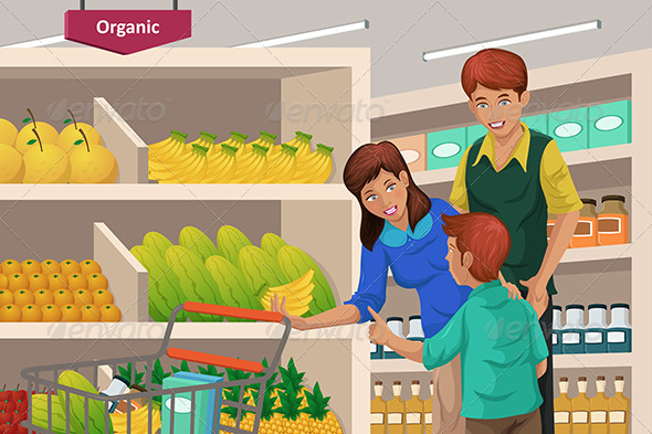 Family Shopping Fruits in a Supermarket - Commercial / Shopping Conceptual