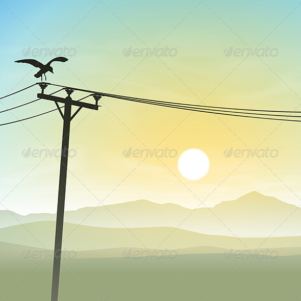 A Bird on Telephone Lines - Animals Characters