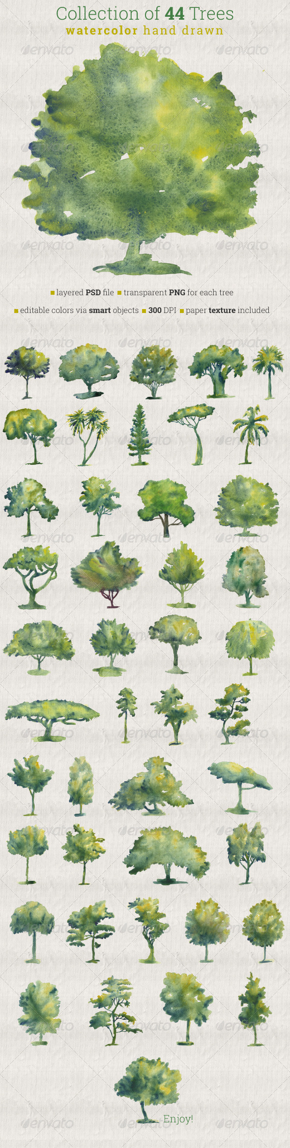 Collection of 44 Watercolor Trees - Nature Backgrounds