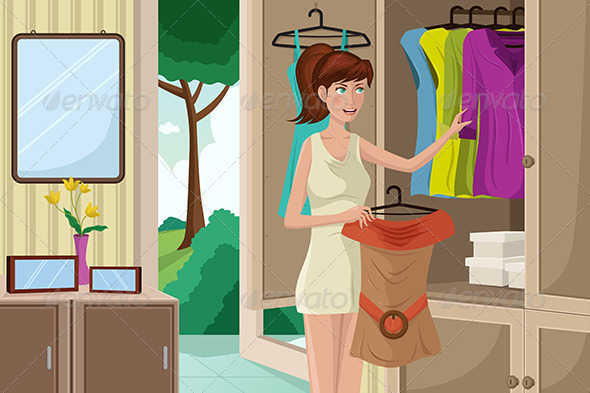Young Woman Selecting an Outfit - People Characters