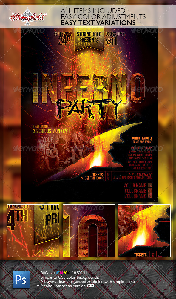 Inferno Party Club Event Flyer Template - Clubs & Parties Events