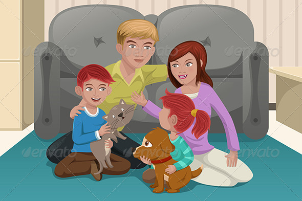 Family with Pets - People Characters
