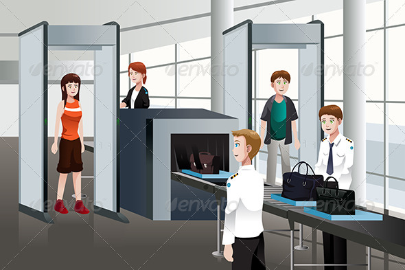 Passengers Walking Through Security Check - People Characters