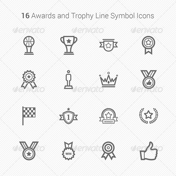 16 Awards & Trophy Line Symbol Icons - Objects Vectors