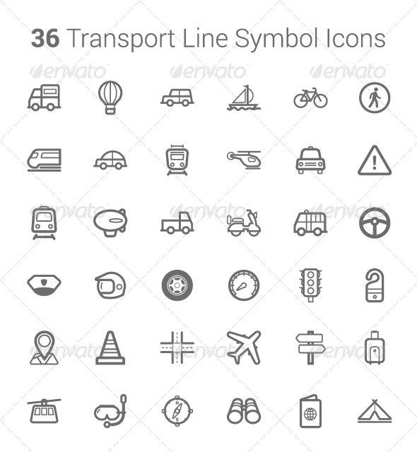 36 Transport & Travel Line Symbol Icons - Travel Conceptual