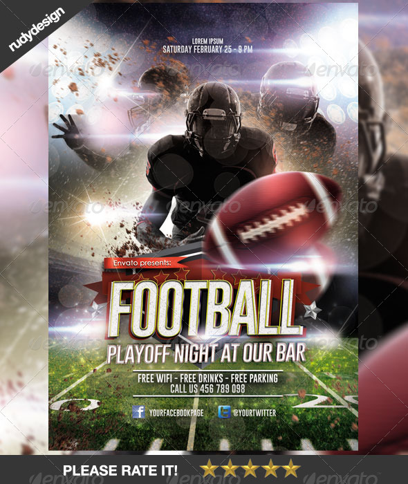 American Football Playoff Night Template Design - Sports Events