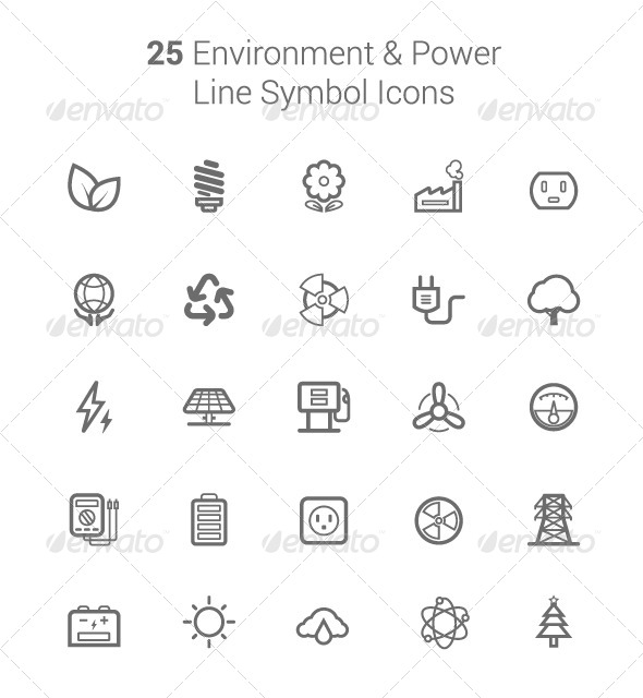 25 Environment and Power Line Symbol Icons - Objects Vectors