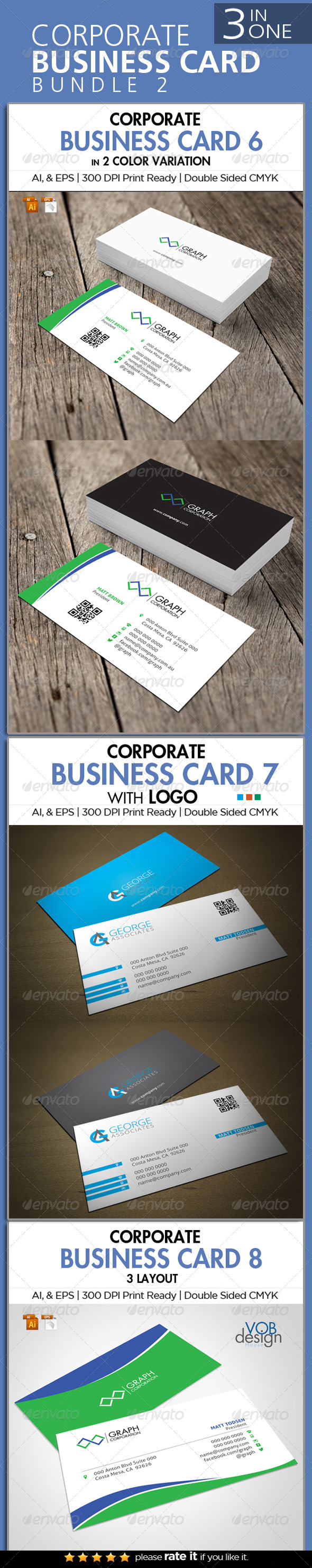 3 in One Busienss Card Bundle 2 - Business Cards Print Templates