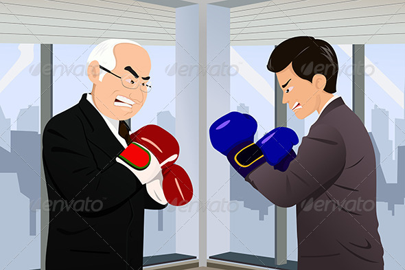 Business Concept of Two Businessmen Fighting - Concepts Business
