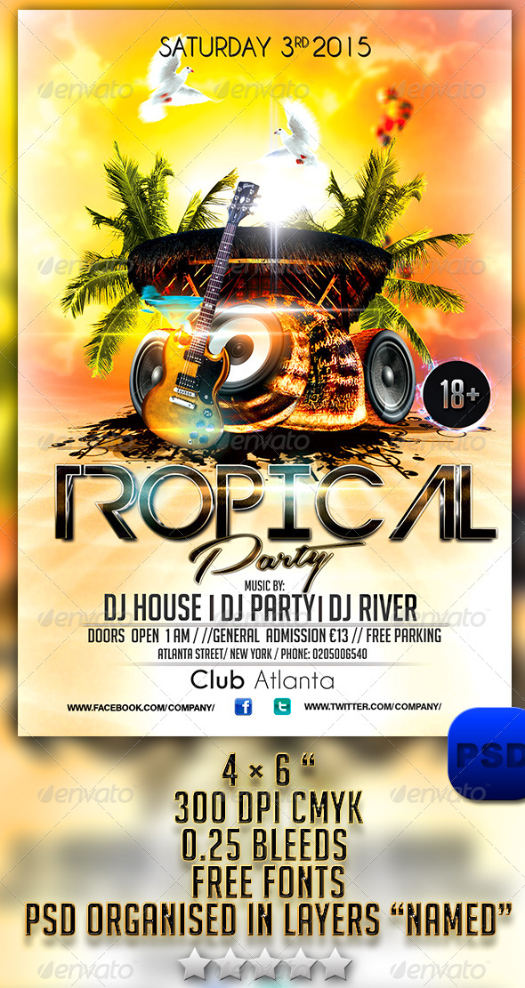 Tropical Party Flyer Template - Events Flyers