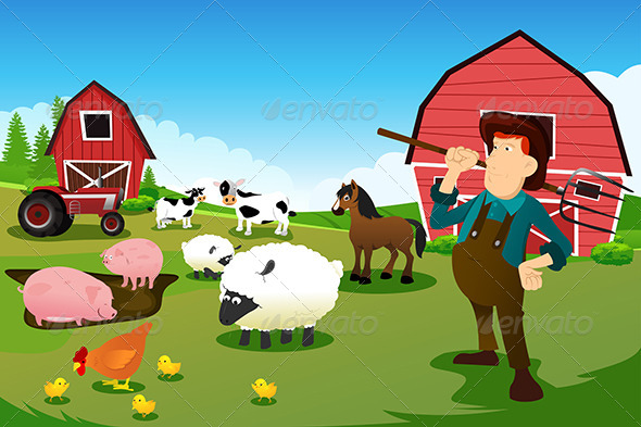 Farmer and Tractor in a Farmland with Animals - Animals Characters