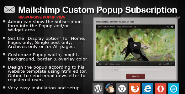 Mailchimp Custom Popup Subscription for wordpress - CodeCanyon Item for Sale