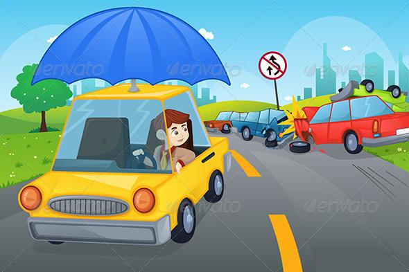 Car Insurance Concept - Conceptual Vectors