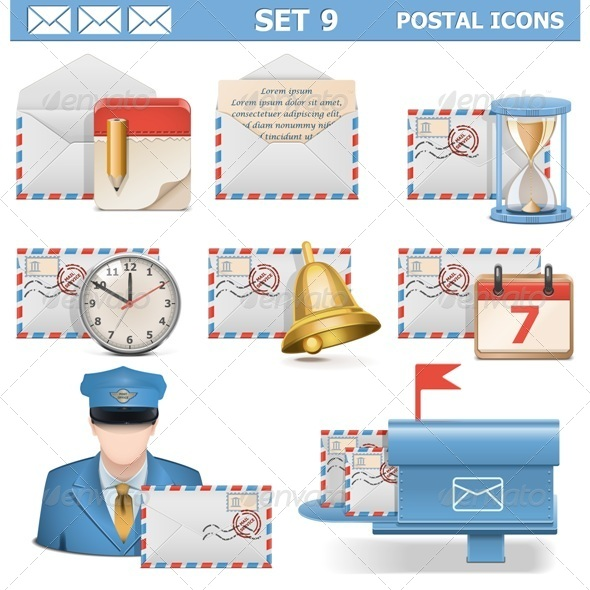Postal Icons Set 9 - Industries Business