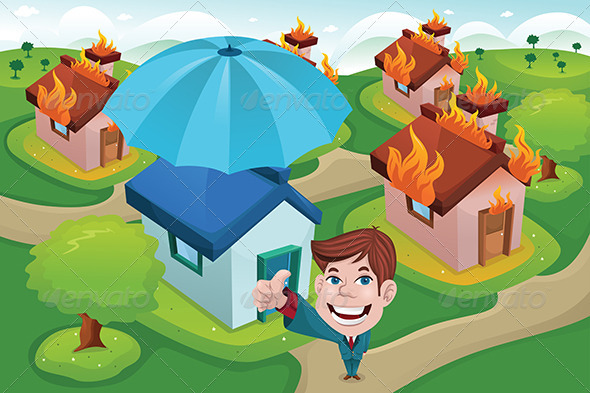 House Insurance Concept - Conceptual Vectors