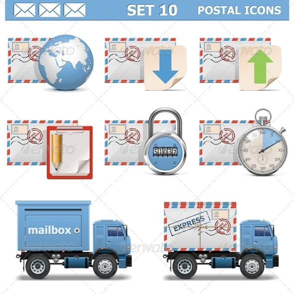 Vector Postal Icons Set 10 - Industries Business